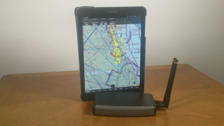 The RF-Connect ADS-B Receiver transmitting data to a tablet.