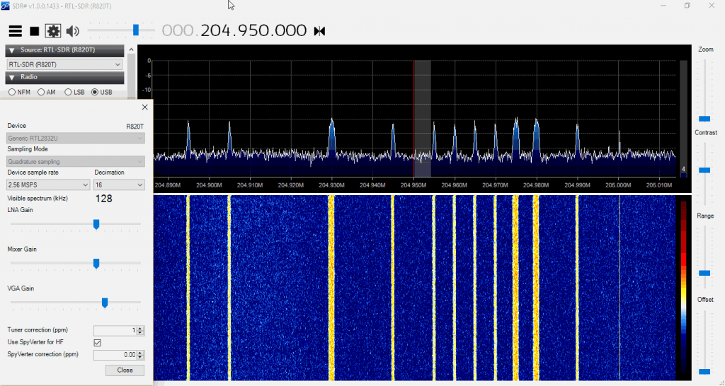 Some AERO Signals Zoomed in with the Decimation feature in SDR#.