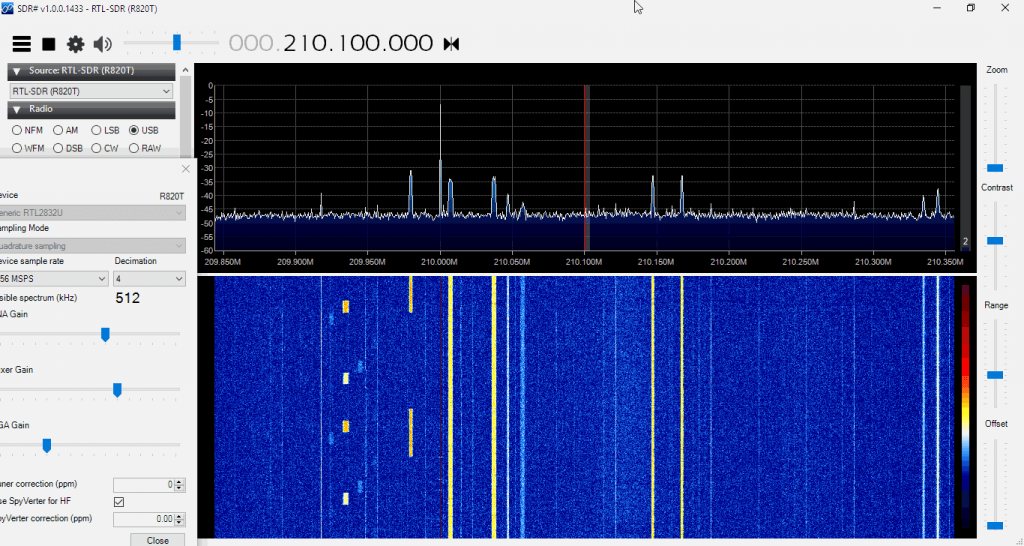 Some AERO and other Signals Zoomed in with the Decimation feature in SDR#.