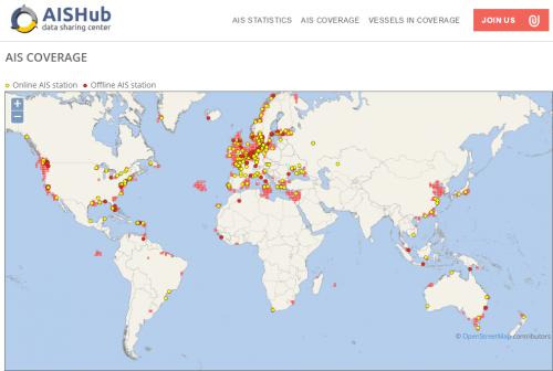 AISHub Coverage Areas