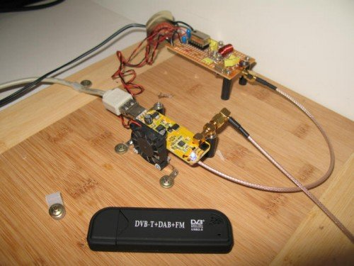 The fan cooled RTL-SDR used to detect the Hydrogen line.