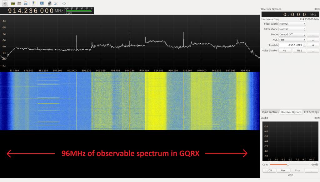 bladeRF displaying 96 MHz.