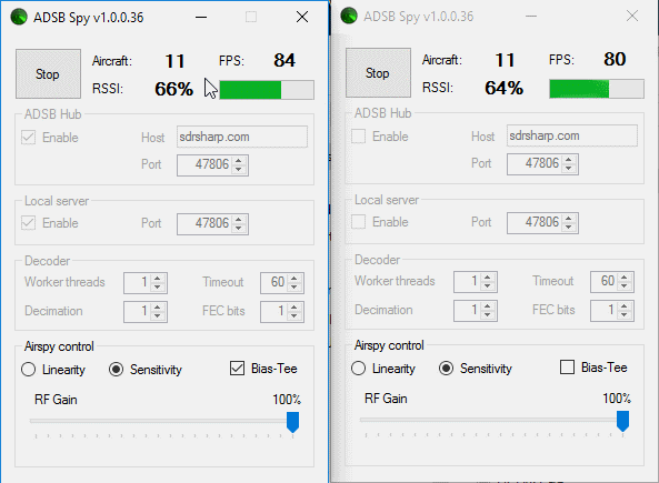 Airspy R2 (left), Airspy Mini (Right)
