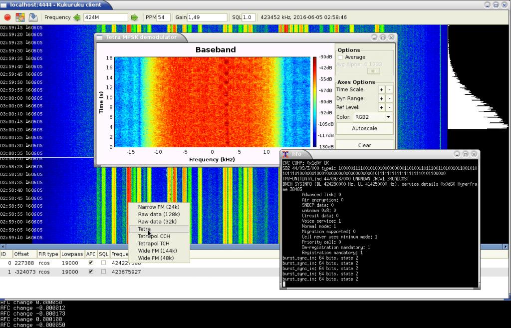 Kukuruku running and demodulating TETRA audio with a plugin.