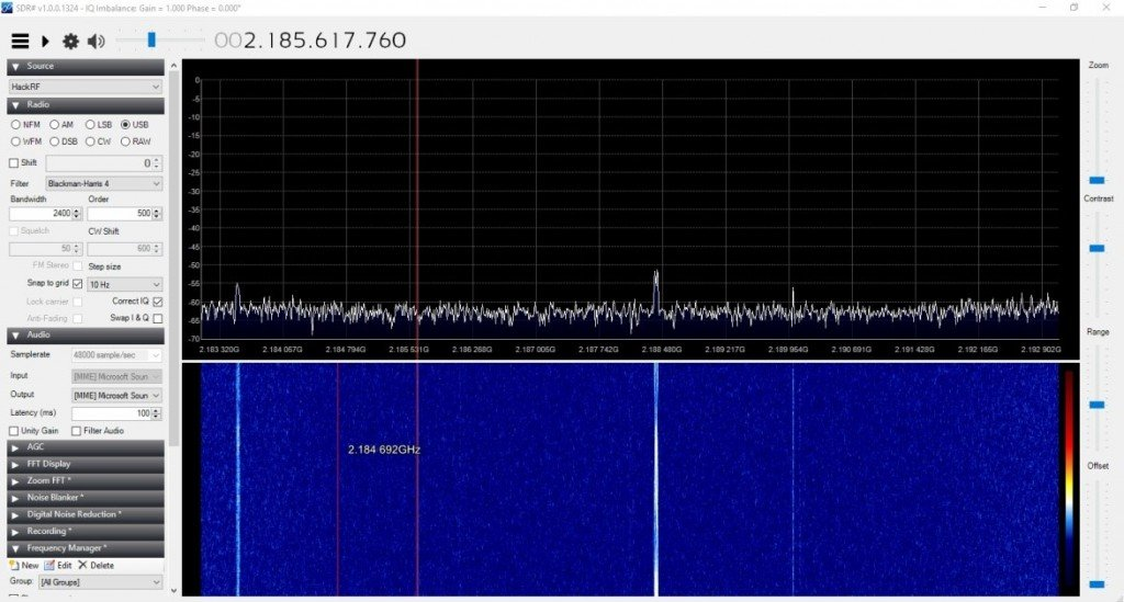 Seeing some S-Band carriers with the HackRF