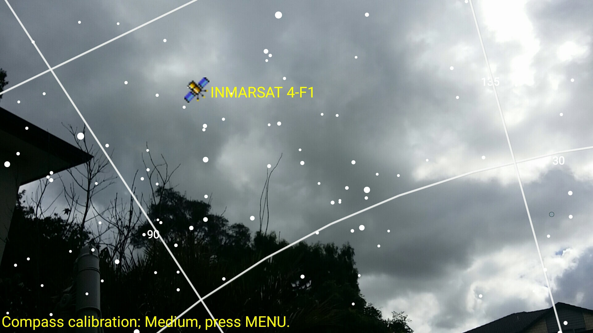 Finding the satellite position in the sky with the Android App