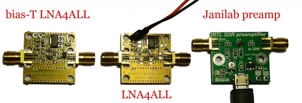 The LNA4ALL and LNA4HF vs the Janilab Preamp