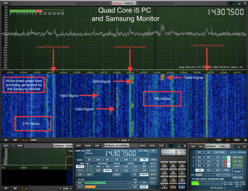 RFI is visible with the SDRplay in SDRuno when using the PC. But no RFI is seen with the iMac.