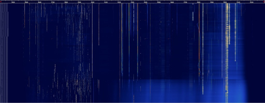 An overnight averaged waterfall from HDSDR.