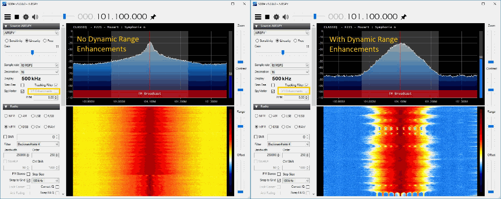 An example of the improved dynamic range for the Airspy on the latest SDR#.
