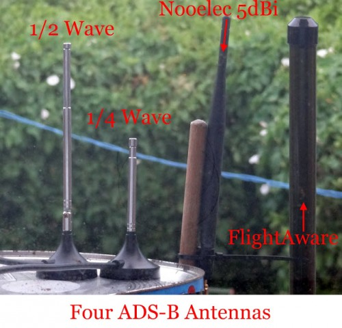 The four ADS-B antennas tested in Akos' review.
