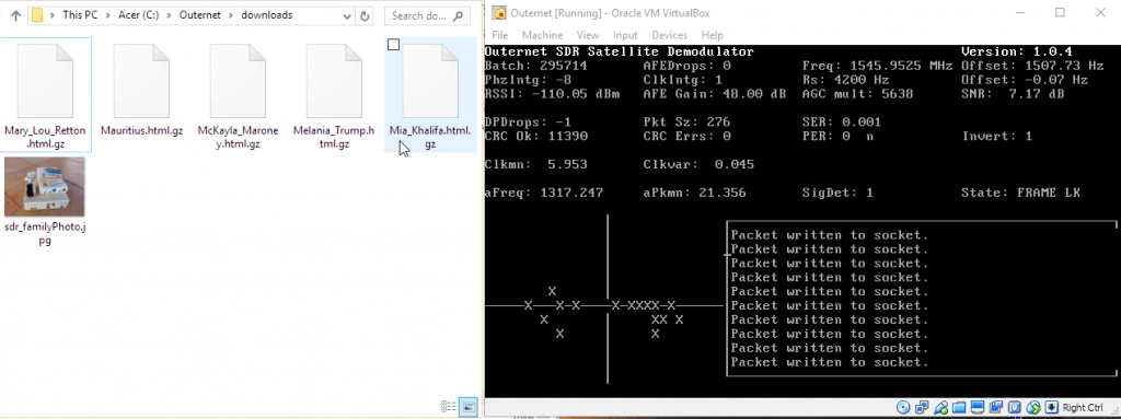 Files downloaded from Outernet (left). Outernet decoder running in VM (right).