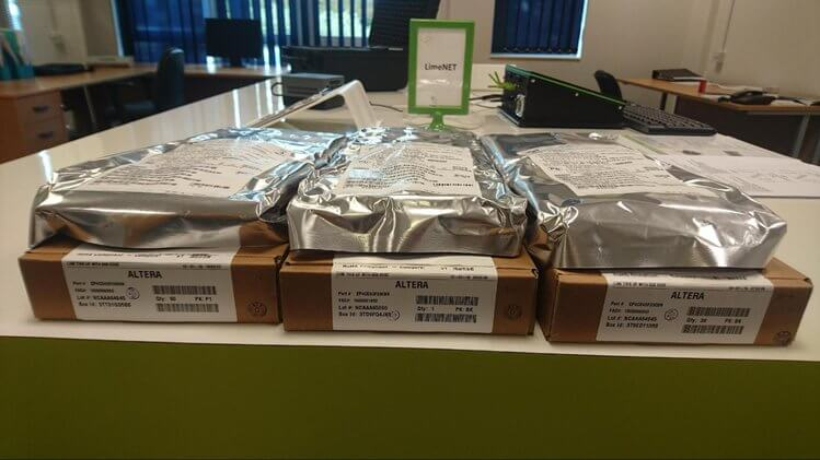 First batch of the Altera FPGA parts delivered to Lime headquarters yesterday.