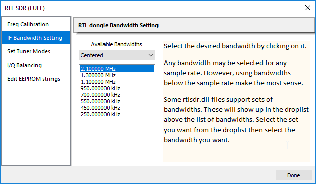 RTLSDR++ Driver: New IF bandwidth settings for preselection.