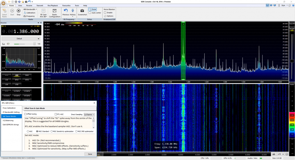 SDRConsole with a V3 dongle and HF Direct Sampling.