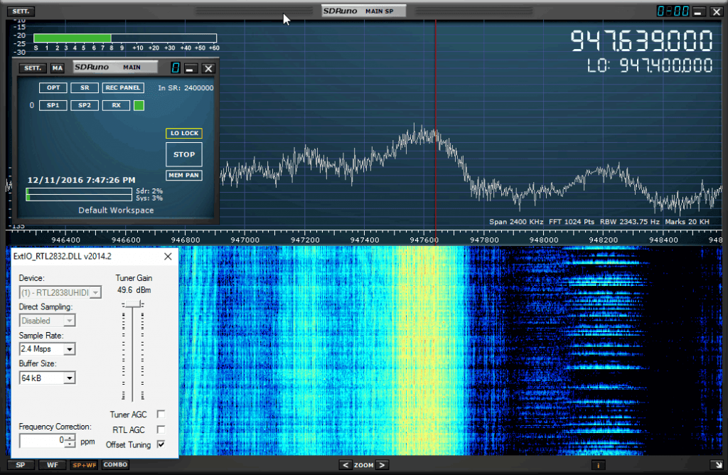 SDRuno Version 1.1 Running a RTL-SDR at 2.4 MSPS