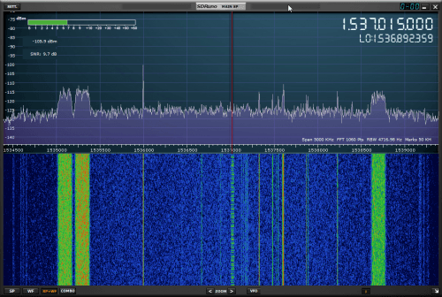 The RSP2 receiving L-band signals with an Outernet LNA and Patch Antenna.