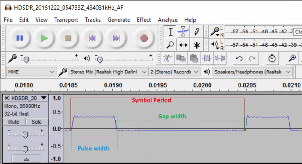 Showing the Pulse Width, Gap Width and Symbol Period of a signal in Audacity.