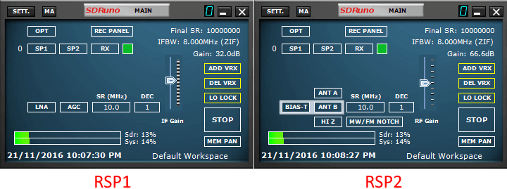 SDRuno Control Screen for the RSP1 and RSP2