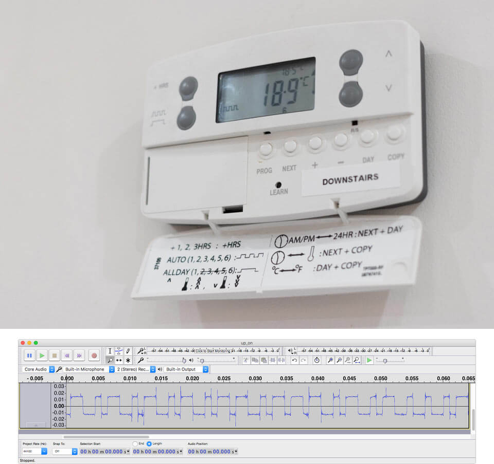 Danfoss Wireless Thermostat and a Received Binary Waveform in Audacity