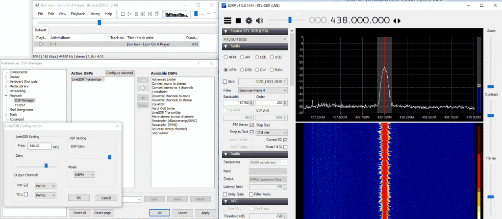 TXing with the LimeSDR with foo_limsdr. RXing the signal with an RTL-SDR.