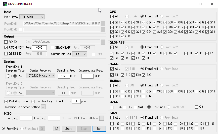Apply appropriate settings in GNSS-SDRLIB GUI