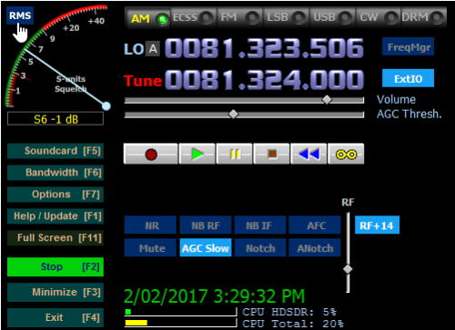 The 2.76 HDSDR Control Panel