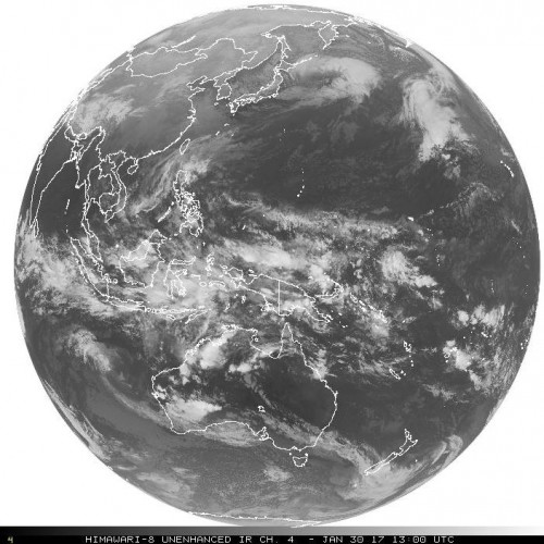 Full disk image received via GOES 16, relayed from the Himawari-8 satellite.