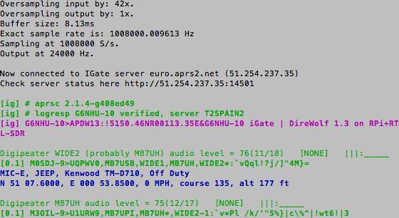 iGate Raspberry Pi Image Running
