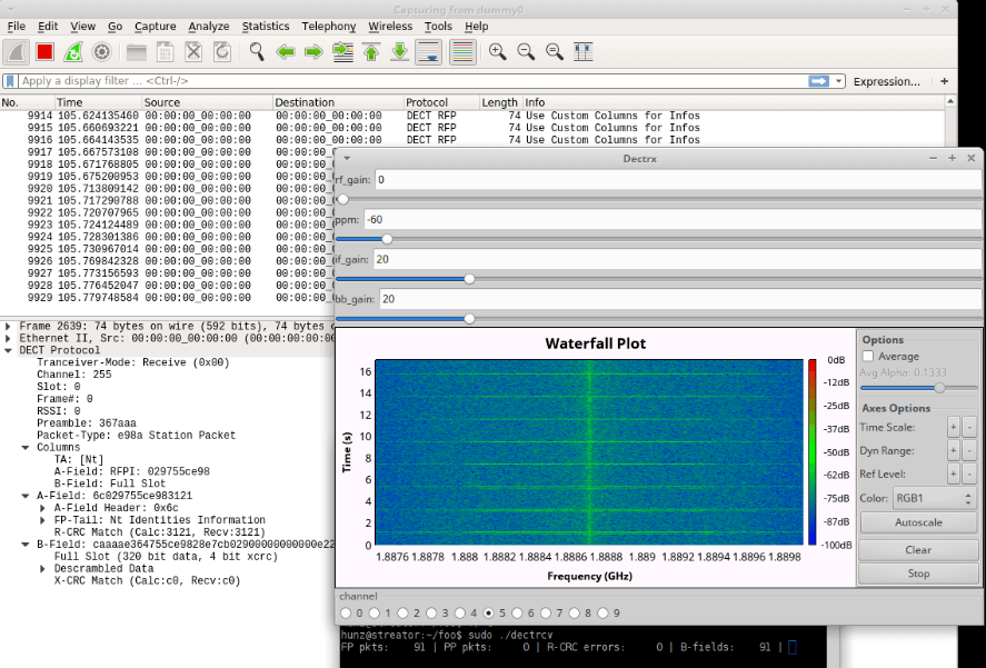 The re-DECTed decoder outputting packets to Wireshark.