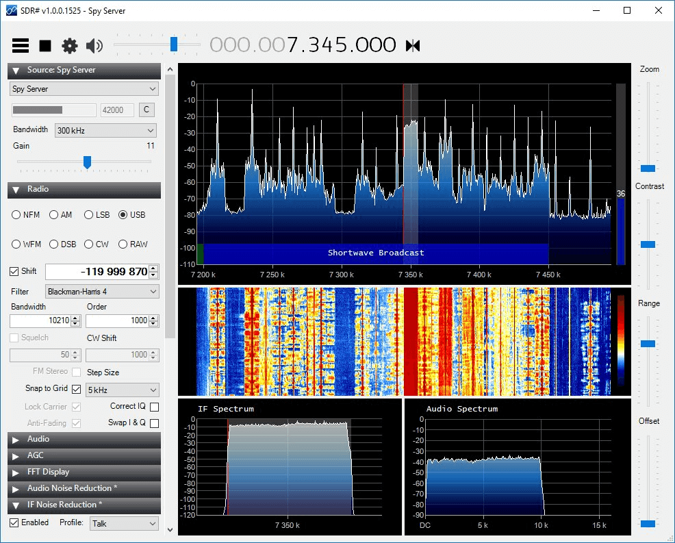 SDR# running from a remote Airspy with SpyServer.