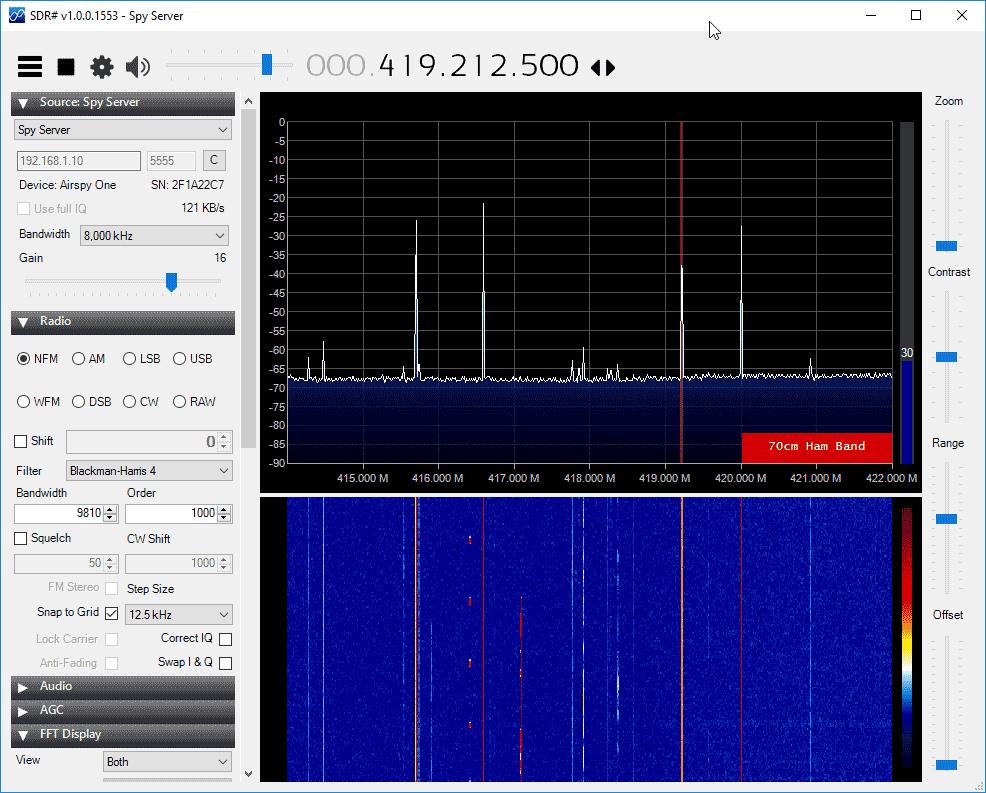SpyServer NFM Reception. About 120 kB/s network usage.