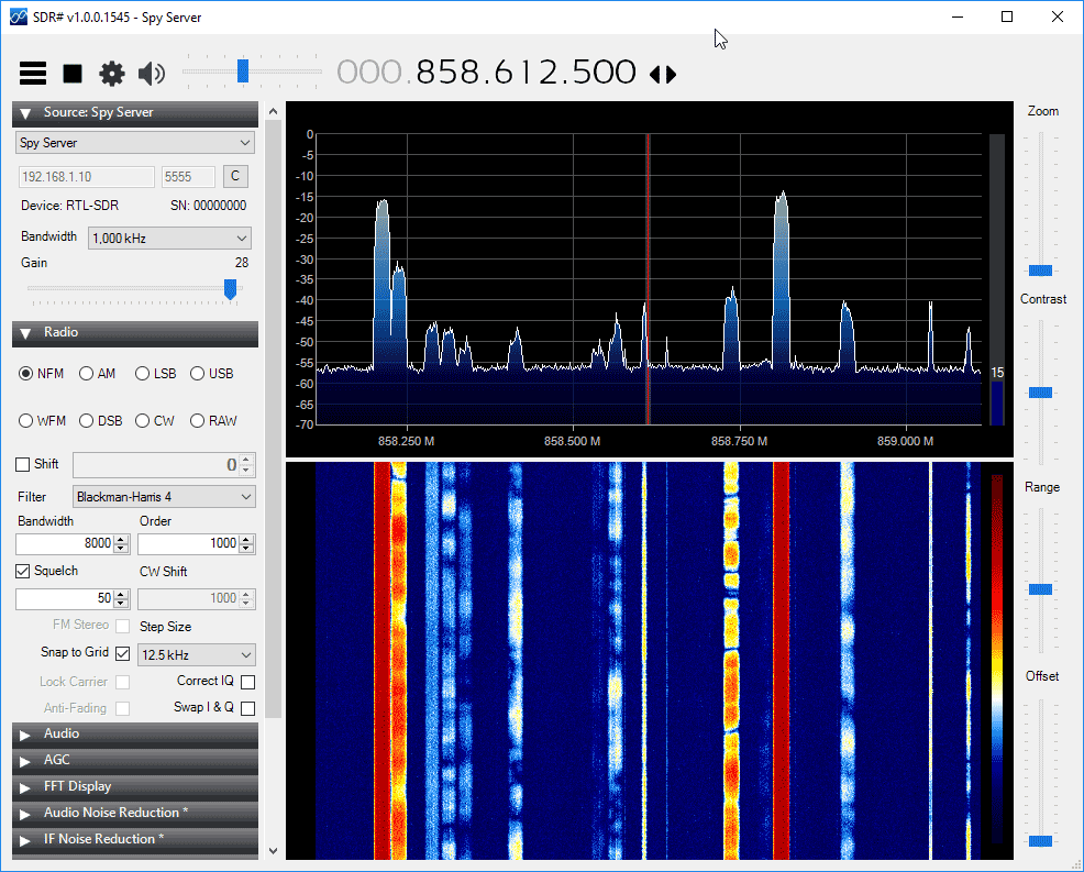 SpySever Running with an RTL-SDR Dongle.