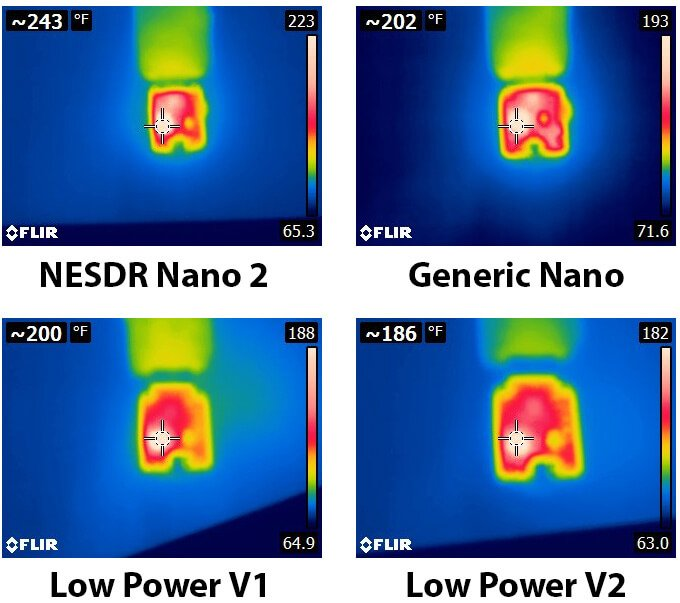 Thermal Camera Photos of  four Nano Dongles.