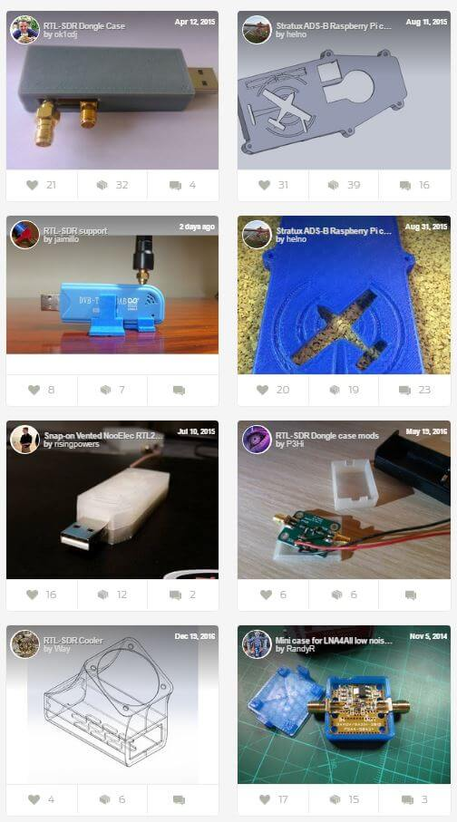 Some of the RTL-SDR related design on Thingiverse.