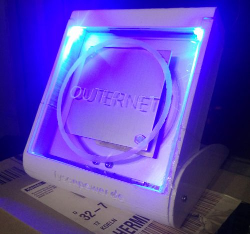 The 3D printed Outernet  enclosure.