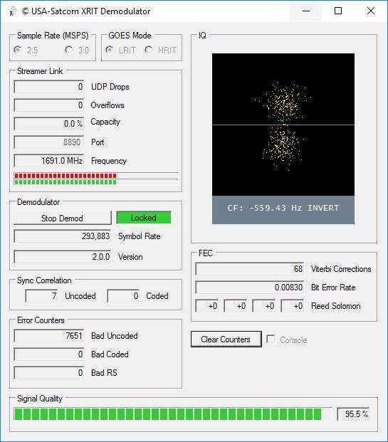 Screenshot of USA-Satcoms GOES XRIT decoder.