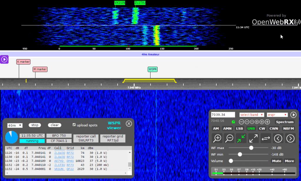 KiwiSDR Running a WSPR Decoder