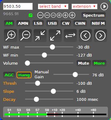 KiwiSDR OpenWebRX Main Control Panel