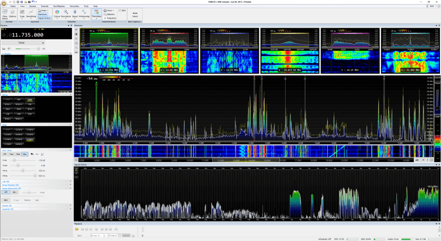 DK8OK's SDR-Console V3 P6 Screenshot. Showing multiple receiver panes and the new signal history feature.