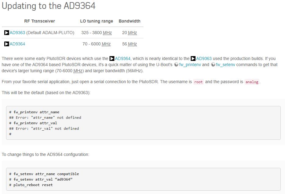 PlutoSDR Upgrade instructions