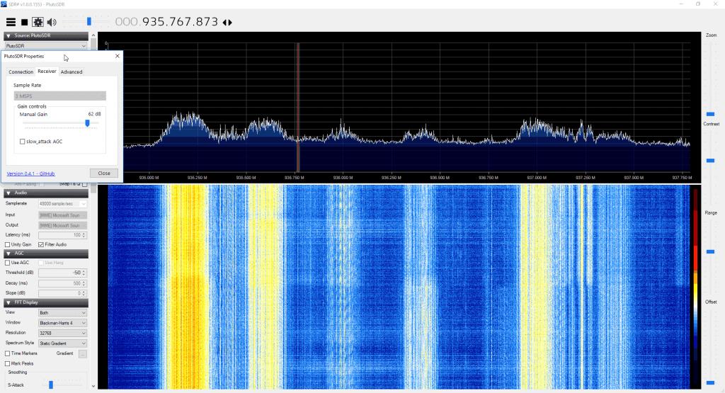PlutoSDR running in SDR#