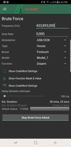 Brute force settings