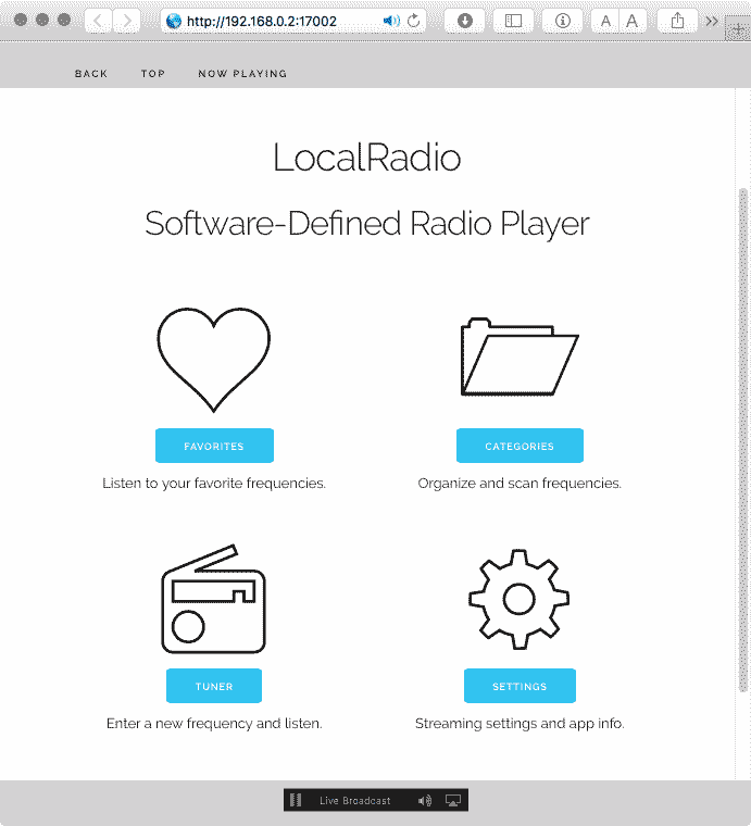 LocalRadio Interface in the Safari Web Browser