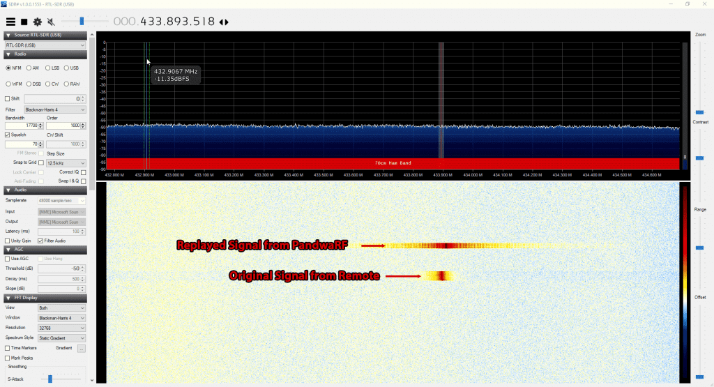 Replayed and Original Signal received with an RTL-SDR
