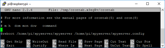 SpyServer Crontab - Start on boot