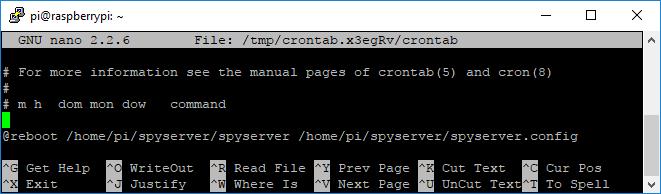 SpyServer Crontab - Start on boot