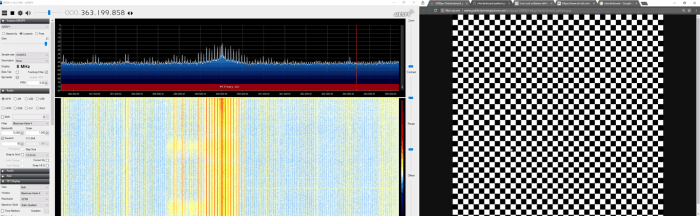 Unintentionally radiated RF signal from computer screen shown in SDR#