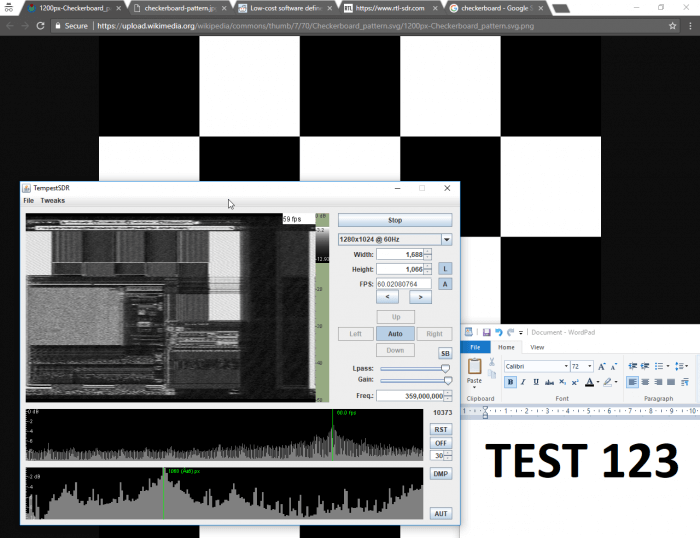 TempestSDR showing what's on the screen via unintentional RF radiation from the monitor.
