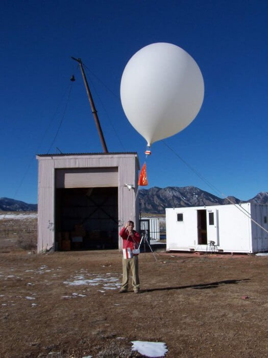 Bobasaurus' coworker launching a weather balloon.